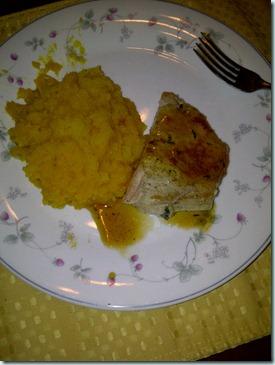 pork chop squash mash