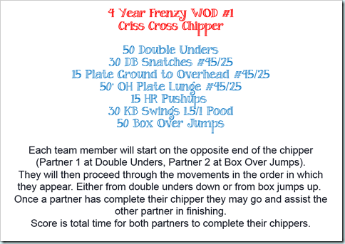 4 year frenzy wod 1
